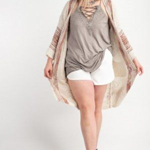 plus size SWEATER KNIT OPEN CARDIGAN WITH POCKETS